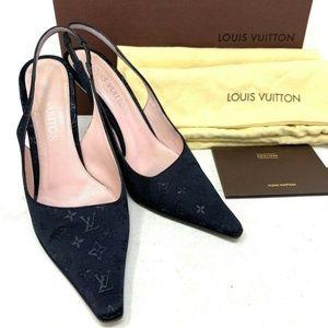 💯 Auth LOUIS VUITTON Black Satin Pumps Shoes